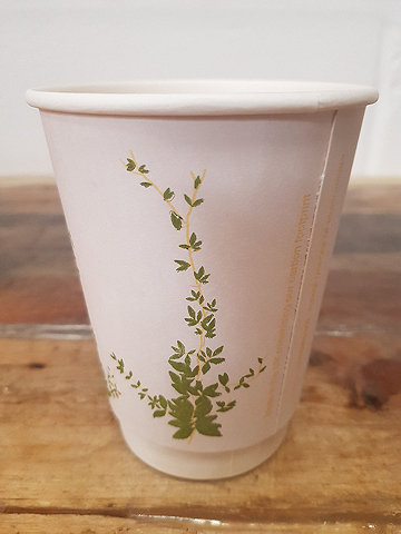 Natures Cup non-branded compostable disposable take-away coffee cup
